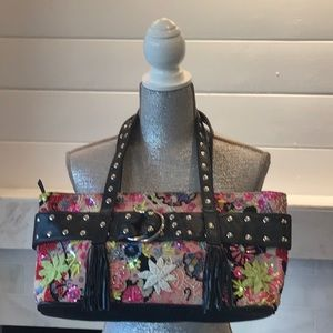 Mary Frances Floral Beaded & Studded Tote Bag EUC!